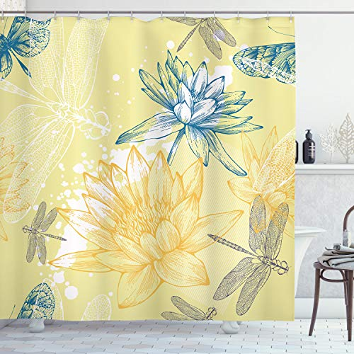 """Ambesonne Dragonfly Shower Curtain, Boho Style Plants and Dragonflies Sketchy Illustration, Cloth Fabric Bathroom Decor Set with Hooks, 84"""" Long Extra, Petrol Blue"""