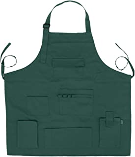F Fityle Professional Artist Apron Long Bib Painter Barber Work Apron with Multi Pockets