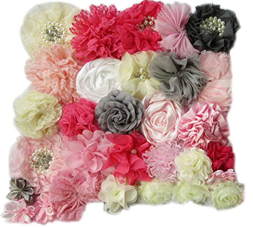 YYCRAFT 40pcs Craft Chiffon Flowers, Handmade Hair Flowers for DIY Headband Kit Bow Kit(Pink/Grey/Ivory)