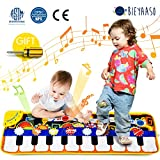 Bieyaaso Musical Piano Mat 19 Keys Piano Keyboard Play Mat Kids Early Education Music Toys Music Mat Build-in Speaker & Recording Touch Music Dance Mat Birthday Gift for Girls Boys 43.3'' X14.2''