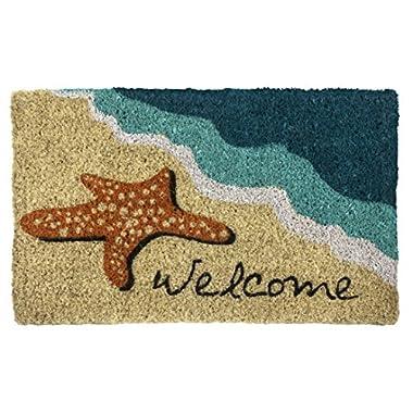 Entryways Starfish Welcome Hand Made Coir Doormat 18  x 30