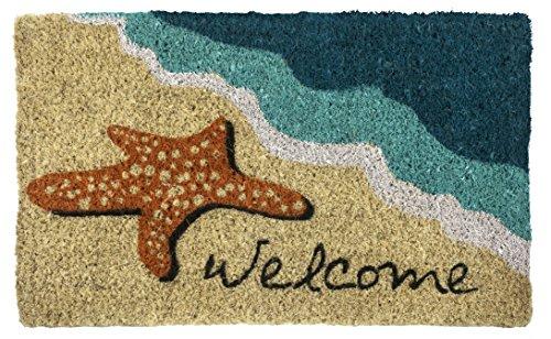 Entryways 45 x 75 cm Felpudo de Fibra de Coco entrelazada con una Estrella de mar y el Mensaje Welcome