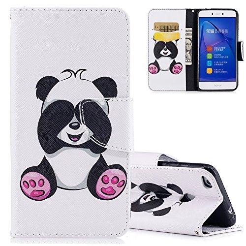 Aeeque Cover Huawei P8 Lite (2017) Pelle PU Portafoglio Bianco Custodia per Huawei P8 Lite 2017 (5.2 Pollici) Panda Simpatico Modello Smart Cabina Telefonica a Libro Antiurto Antiscivolo Protettiva