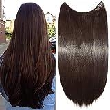 Elailite Capelli Extension con Filo Invisibile 60cm Capelli Lunghi Lisci Fascia Unica Hair Extensions 3/4 Full Head, Marrone Scuro