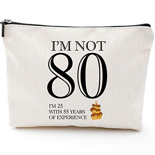 I'm not 80,80th Birthday Gifts for Women,Mom,Grandma,Wife,80th Birthday Gifts Ideas,Queen 80s, Fun Makeup Bag Gifts