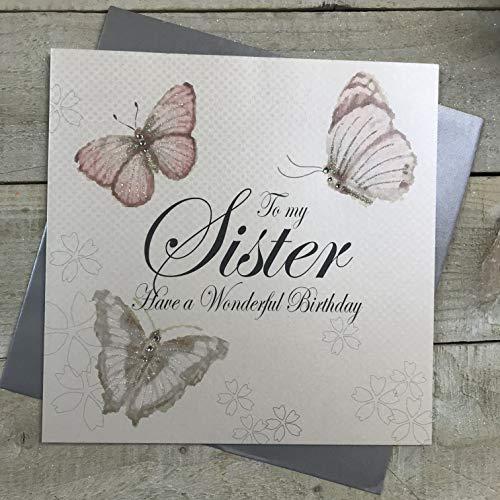 witte katoenen kaarten aan mijn zuster hebben een prachtige, handgemaakte grote verjaardagskaart, vintage vlinders, code XPD30