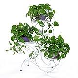 HLC Soporte para macetas Estantería para macetas en diseño de S Escalera para Plantas Flores con 3 Niveles Color Blanco Hierro