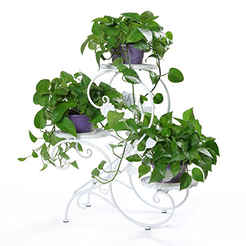 HLC Soporte para macetas Estantería para macetas en diseño de S Escalera para Plantas Flores con 3...