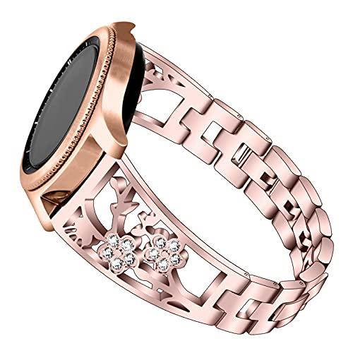 Bandas De Metal Compatible Con Galaxy Watch 42 / 46MM, Correas De Repuesto Pulsera De Acero Inoxidable Correa Transpirable Joyas Con Purpurina Compatible Con Galaxy Watch 42 / 46MM,Rose pink 42mm