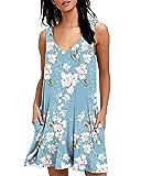 Abravo Mujer Vestido Estampado Floral sin Mangas Vestido Casual Corto Playa con un Bolsillo (2XL, Z-Azul Oscuro)