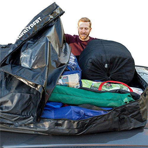 INDUXPERT Car Roof Bag 18.5 Cubic Feet | 100% Waterproof Rooftop Cargo Carrier | Install Securely with/without Roof Racks | Dual Seam | Heavy Duty Wide Straps | Carrier Bag Included | Lightweight