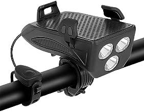 YDH Fietslamp met claxon, oplaadbare fietslamp, 4-in-1 fietsstuurlamp, met 3 verlichtingsmodi en 5 tonen, geschikt voor fi...