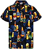 V.H.O. Funky Camisa Hawaiana, Beerbottle, Negro, L