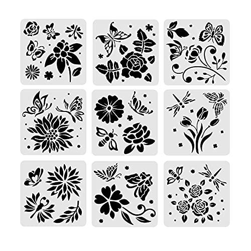 BENECREAT 9 PCS Plantillas de Dibujo de Plástico con Diseño Biológico 30x30cm,...