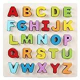 BEETEST Niños juguetes educativos de madera letra forma aprendizaje reconocimiento mano agarre Consejo juguete del rompecabezas para más de 3 años los niños viejos