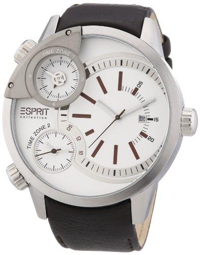Esprit Herren-Armbanduhr XL Poseidon Brown Analog Quarz Leder EL101431F01