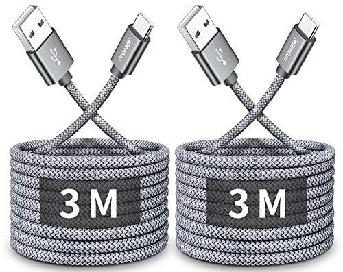 CLEEFUN Lange USB C Lader Kabel 3M, 2-Pack 3A Type-C Snel Opladen Nylon Gevlochten Koord voor Samsung Galaxy S20 S10 S9 S8 Plus S10 Lite S10e, A40 A50 A70 A20e, Moto G8 G7 Plus G8 G7 Power G8 Power Lite