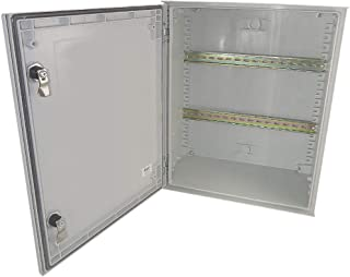 Altelix 20x16x8 Industrial DIN Rail FRP Fiberglass NEMA 3X Box Weatherproof Enclosure with Hinged Lid & Quarter-Turn Latches