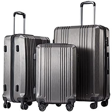 Coolife Luggage Expandable Suitcase 3 Piece Set with TSA Lock Spinner 20in24in28in(sliver gray3)