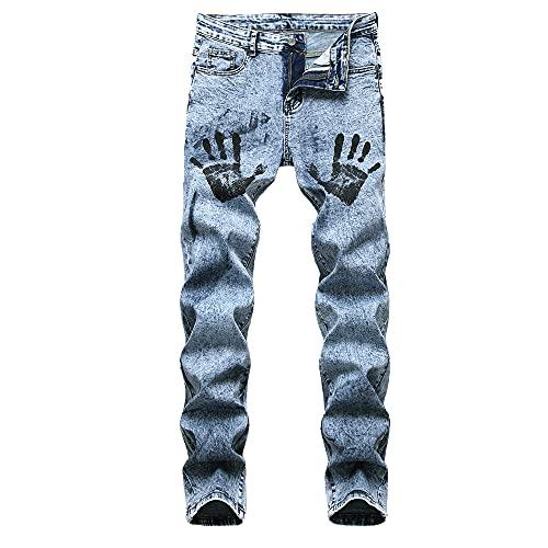 N\P Pantalones vaqueros para hombre Pantalones de mezclilla azules casuales