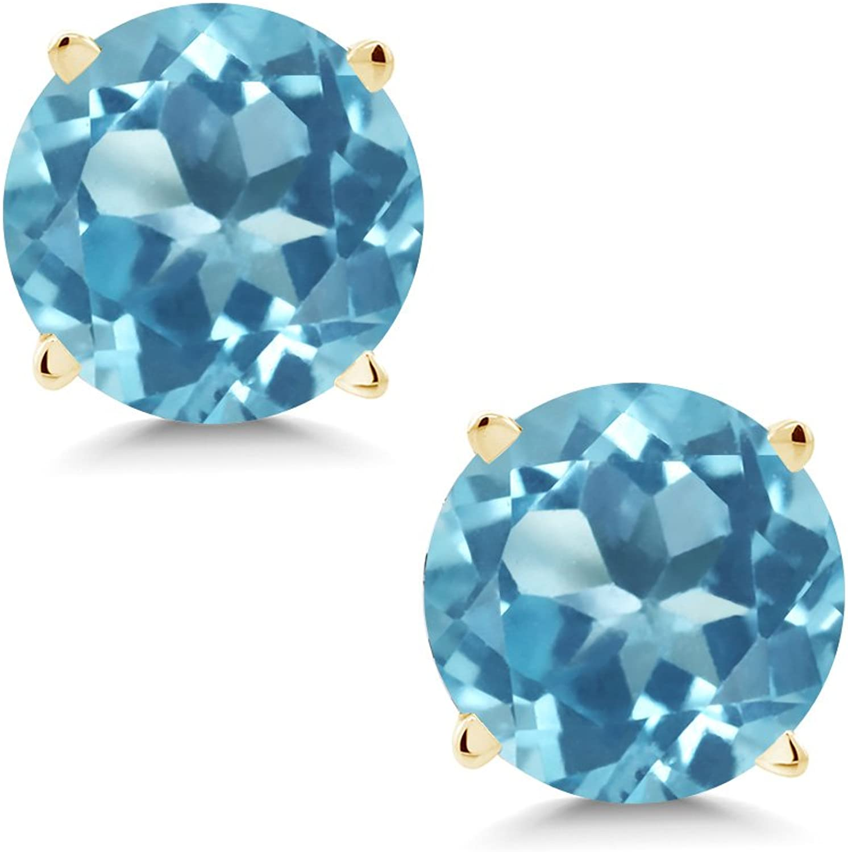 1.80 Ct Round 6mm Swiss bluee Topaz 14K Yellow gold Stud Earrings