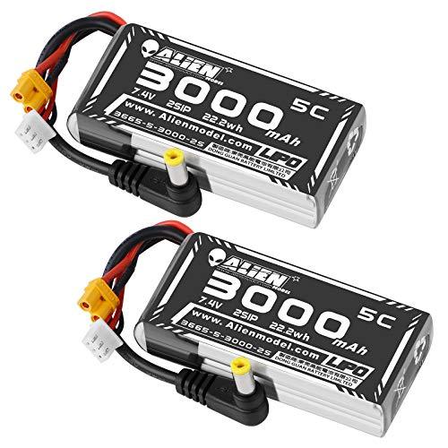 FancyWhoop 2S 3000mah Batería LiPo 7.4V 5C / 10C FPV Paquete de batería para Gafas con Enchufe XT30 y Enchufe DC5.5 para Gafas de tiburón Gordo Gafas HD Hobby FPV Receptor inalámbrico RC 2PCS