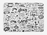 Ambesonne Video Games Bath Mat, Monochrome Sketch Style Gaming Design Racing Monitor Device Gadget Teen 90's, Plush Bathroom Decor Mat with Non Slip Backing, 29.5' X 17.5', White and Black