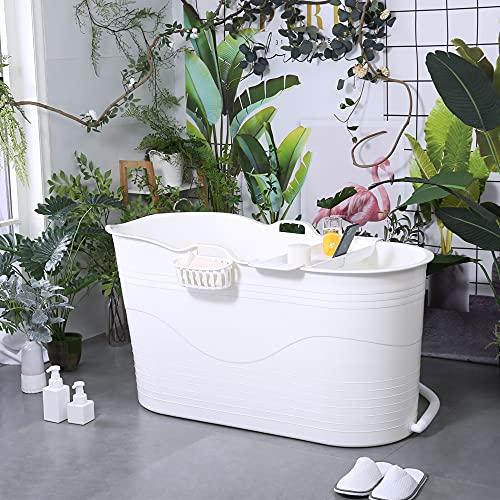 Mobile Badewanne für Erwachsene XL mit exklusive Auflage, Ideal für das kleines Badezimmer, 123 * 51 * 63cm, Stylisch und Stimmungsvoll (Weiß mit auflage)