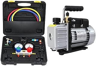 エアコン ガスチャージ マニホールドゲージ & 真空ポンプ 逆流防止機能付き セット R134a R32 R410a R404a 冷媒 クーラー