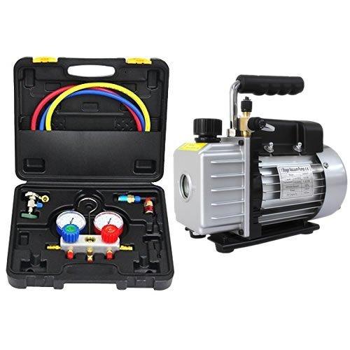 WEIMALL エアコン ガスチャージ マニホールドゲージ & 真空ポンプ(排気速度 30L/S) 逆流防止機能付き セット R134a R410a R404a R32 冷媒 クーラー エアコン修理 エアコン修理工具