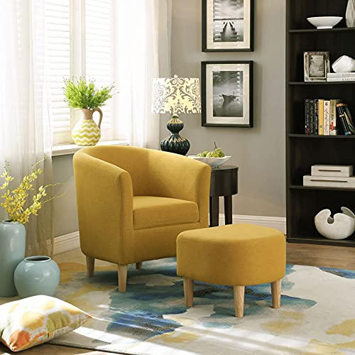 Tub Chair Armchair and Stool Comfy Bedroom Living Room Reception Chairs Fabric Armrests Cuddle Sofa Modern Accent Arm Chair Upholstered Fireside Chair for Reading Home Lounge Office Cafe Yellow