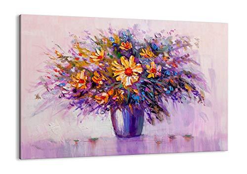 Quadro su tela - Elemento unico - fiori vaso - 100x70cm - Pronto da appendere - Home Decor - Stampe su Tela - Quadri Moderni - completamente incorniciato - AA100x70-4112