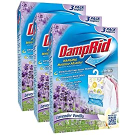 Damprid 773822075241 fg83k hanging moisture absorber fresh scent (3 boxes of 3 bag, blue 7 hanging bag protects valuable clothing from damage and musty odors. Effective for up to 60 days. Nontoxic and septic safe.