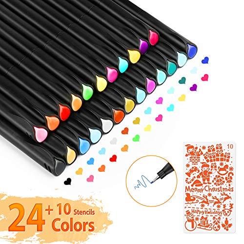 Fineliner Stifte, Gifort 24 Farben Bullet Journal Stifte Set, 0,4 mm Feine Filzstift Fineliner Stiften pigment Liner Set mit 10 Schablonen zum Malbuch, Zeichnen, Schreiben, Skizzieren, Illustrieren