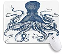 ECOMAOMI 可愛いマウスパッド グランジ効果を持つタコの雄大な海の生き物の芸術的なイラスト 滑り止めゴムバッキングマウスパッドノートブックコンピュータマウスマット