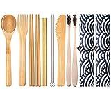 2 Set de Cubiertos de Bambú para Viaje y Acampada | Estuche, Tenedor, Cuchillo, Palillos, Cuchara, Paja, Cepillo de limpieza, Cepillo de dientes | Ecológico