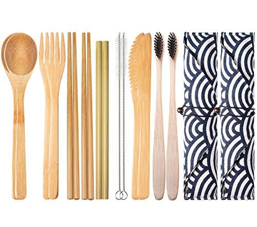 2 Set Posate in bambù | Stoviglie Set Bambù da Viaggio Utensili Includono Riutilizzabile Coltello Forchetta Cucchiaio Bacchette Cannucce | Posate in Legno + 200 stuzzicadenti
