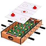 COSTWAY Multi Game Table, 2 in 1 Combo Table with Football and Air Hockey Games, Wood Foosball Table Top for Game Rooms, Arcades, Bars, Parties