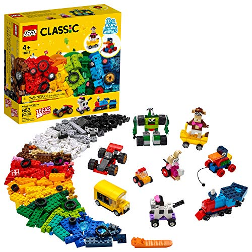 LEGO Classic Bricks and Wheels 11014 Building Kit; Includes a Toy car, Train, Bus, Robot, Skateboarding Zebra, Race car, Bunny in a Wheelchair, and Much More, New 2021 (653 Pieces)