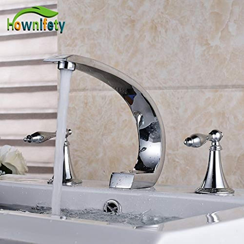 U-Enjoy Kronleuchter 3Pcs Badezimmer Verbreitet Sink Drei Top-Qualitt Lcher Armatur Aufsatz- Waschtischmischer Chrome Polishedtap Kostenloser Versand