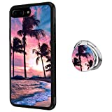 Case for iPhone 7 Plus 8 Plus case Sunset Beach with Ring Holder Slim Soft and Hard Tire Shockproof Protective Phone Cover Case Slim Hybrid Shockproof Protective Case Anti-Scratch Cushion Bumper with