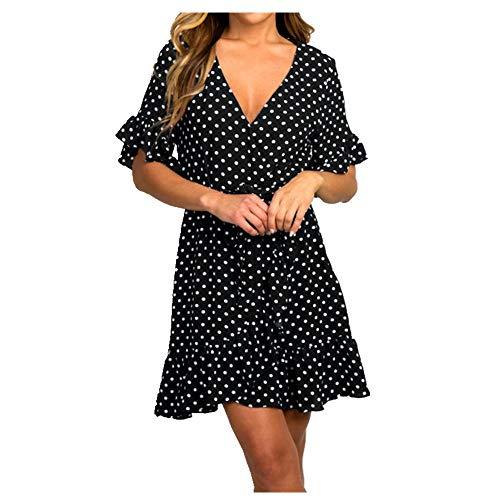 N\P Vestido de verano de manga corta para mujer