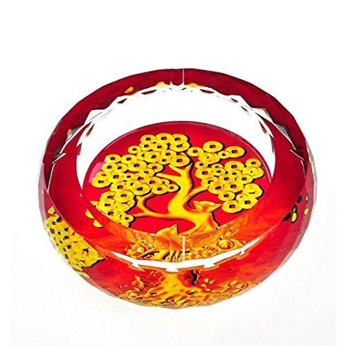 Xuan - worth having 3D Money Tree Pattern Style d'impression couleur Cirage en cristal rond en verre Accueil Décoration de salon (taille : 18 cm)