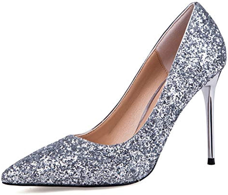YUANGGX Damen High Heels Bling Bling Absatz-Frauen-Hochzeits-Schuhe 9,5 cm Absatz-Schuh-Frauen-Elegante Spitze Zehen-Funkeln-Frauen-Pumpen Für Partei