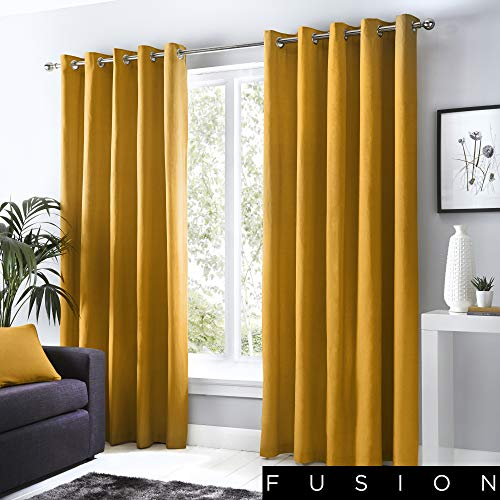 Fusion - Sorbonne - 100% Cotton Pair of Eyelet Curtains - 46' Width x 72' Drop (117 x 183cm) in Ochre