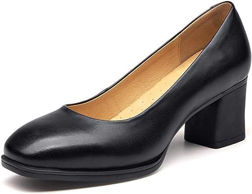 Shiney Nouveau Travail Chaussures Simples Femmes Noir Talon Chunky Bouche Peu Profonde Professionnel Robe à Talons Hauts Chaussures Fond Mou