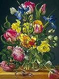 Flor simple rhinestone lirio flor mosaico bordado rhinestone peonía flor punto de cruz hecho a mano pintura diamante A15 30x40cm