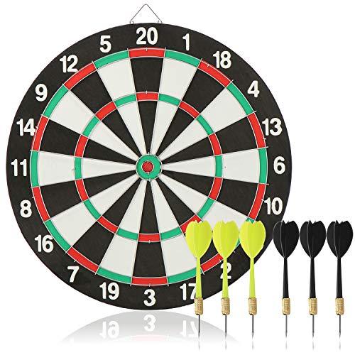 com-four® 7-teiliges Dart-Set, Klassische Dartscheibe mit 6 Steel-Darts (Metall) in 2 Farben, Dartboard und Pfeile, Rückseite ist Zielscheibe