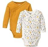 Golden Lutz Baby Jungen Wickelbody, Langarm (senf gelb weiß grau Gemustert, Gr. 62/68), 2er Pack | LUPILU