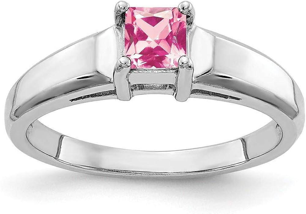 Solid 14k White Gold 4mm Princess Cut Pink Tourmaline October Gemstone Engagement Ring